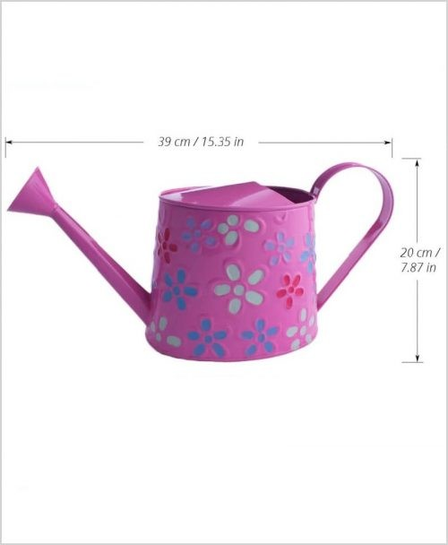 Metal Watering Can 1000ml Hand Painted Pink Dia
