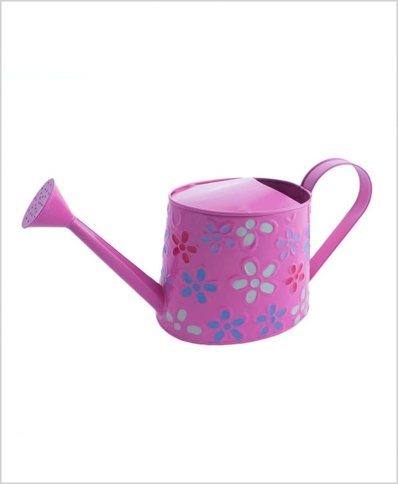 Metal Watering Can Hand Painted 1000ml Pink