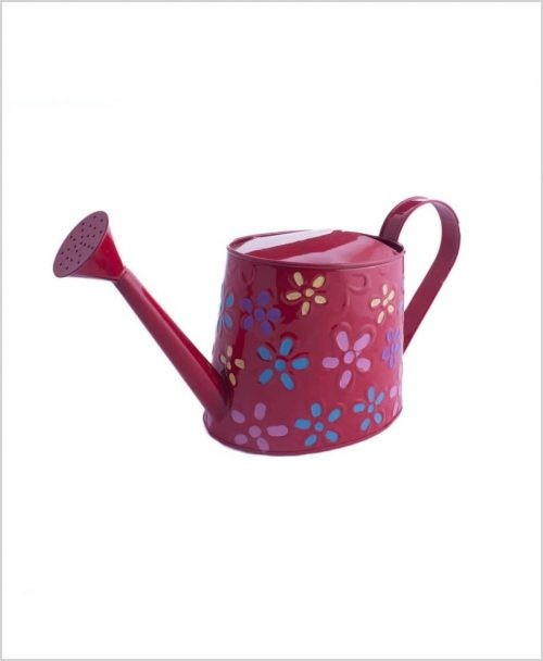 Metal Watering Can 1000ml Hand Painted Red