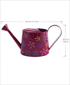 Metal Watering Can 1000ml Hand Painted Red Dia