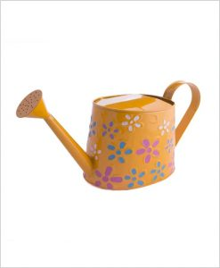 Metal Watering Can 1000ml Hand Painted Yellow
