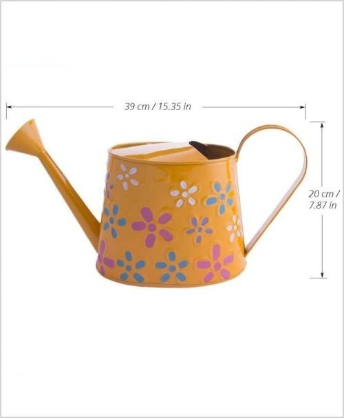 Metal Watering Can 1000ml Hand Painted Yellow Dia