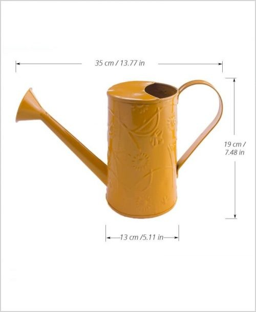 Metal Watering Can 1000ml Yellow Dia