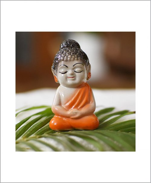 Garden Miniature Ceramic Buddha Orange