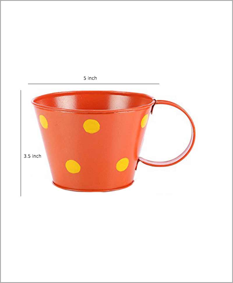 Metal Cup Polka Planter Orange