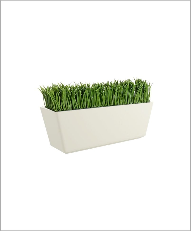 Rectangular Fiber Boat Planter 24 inch, Indoor Outdoor Planter