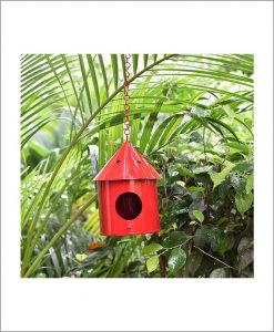 Metal Hanging Bird House Round Red