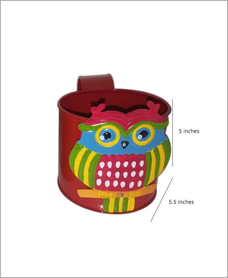 Metal Owl Planter Red