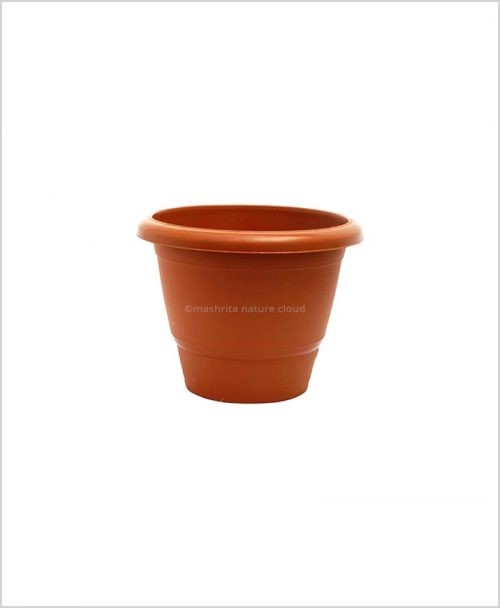 Semi Round Plastic Pot 10 inch Garden Pot (Terracotta Color)