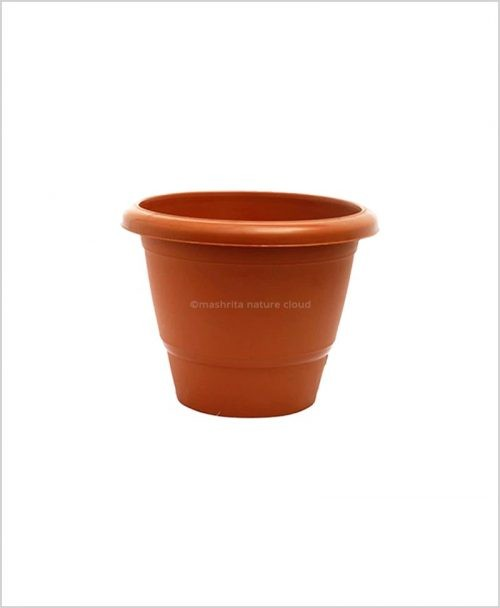 Semi Round Plastic Pot 12 inch Garden Pot (Terracotta Color)