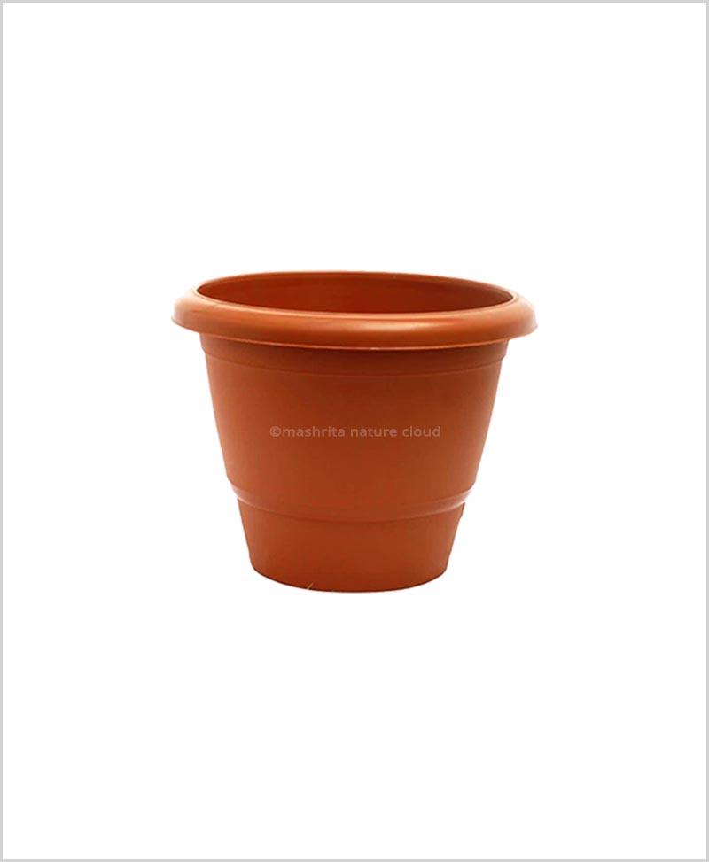 Semi Round Plastic Pot 12 inch Garden Pot (Terracotta Color)
