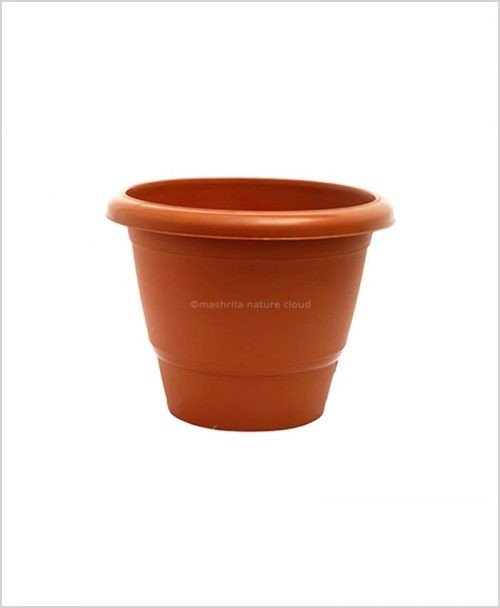 Semi Round Plastic Pot 14 inch Garden Pot (Terracotta Color)