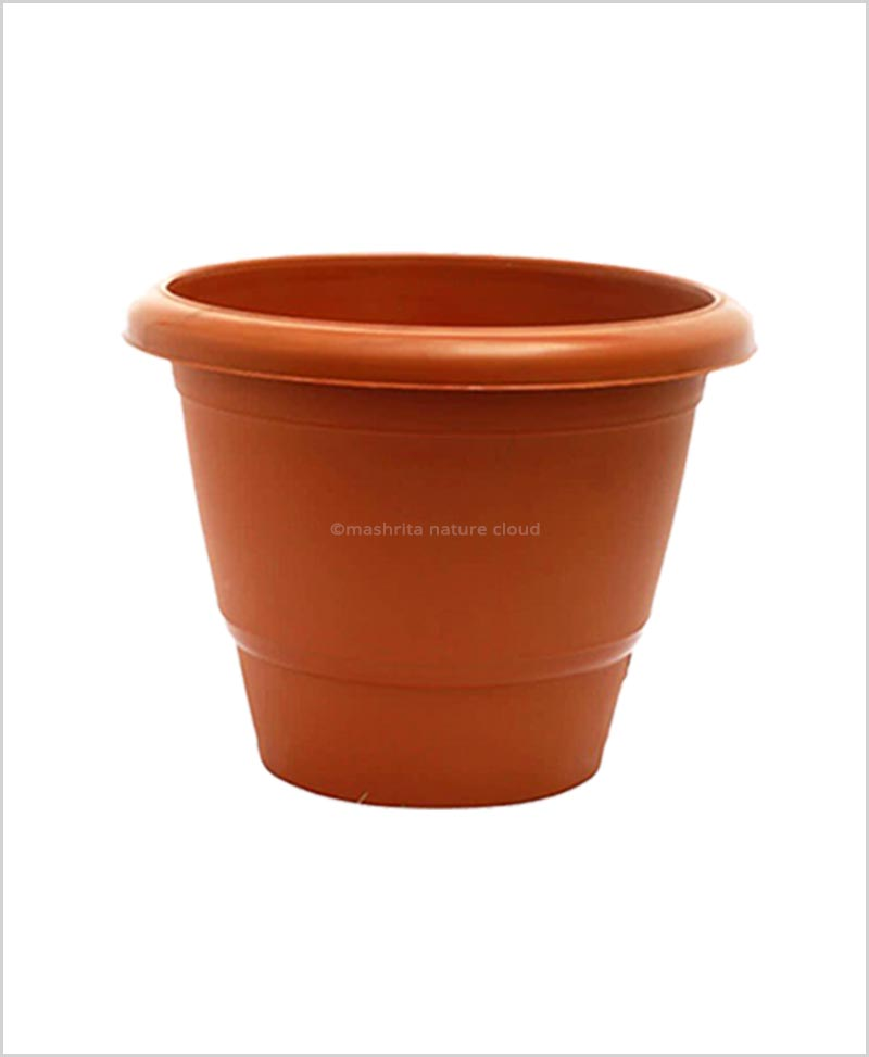 Semi Round Plastic Pot 18 inch Garden Pot (Terracotta Color)