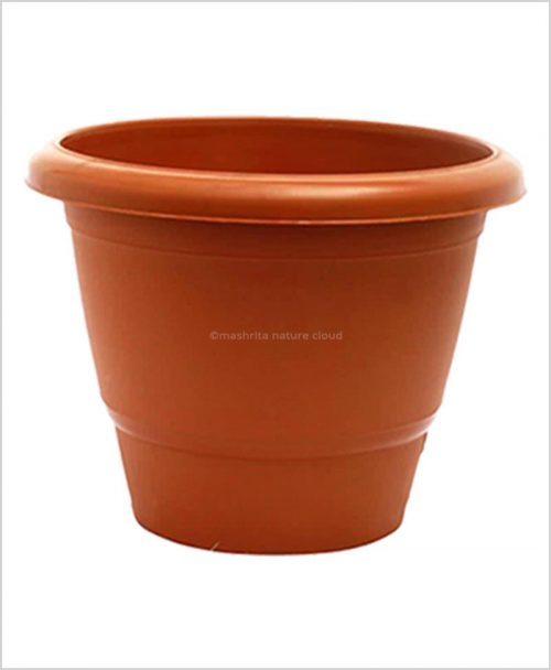 Semi Round Plastic Pot 20 inch Garden Pot (Terracotta Color)