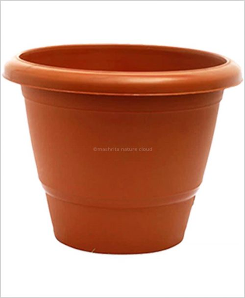 Semi Round Plastic Pot 24 inch Garden Pot (Terracotta Color)
