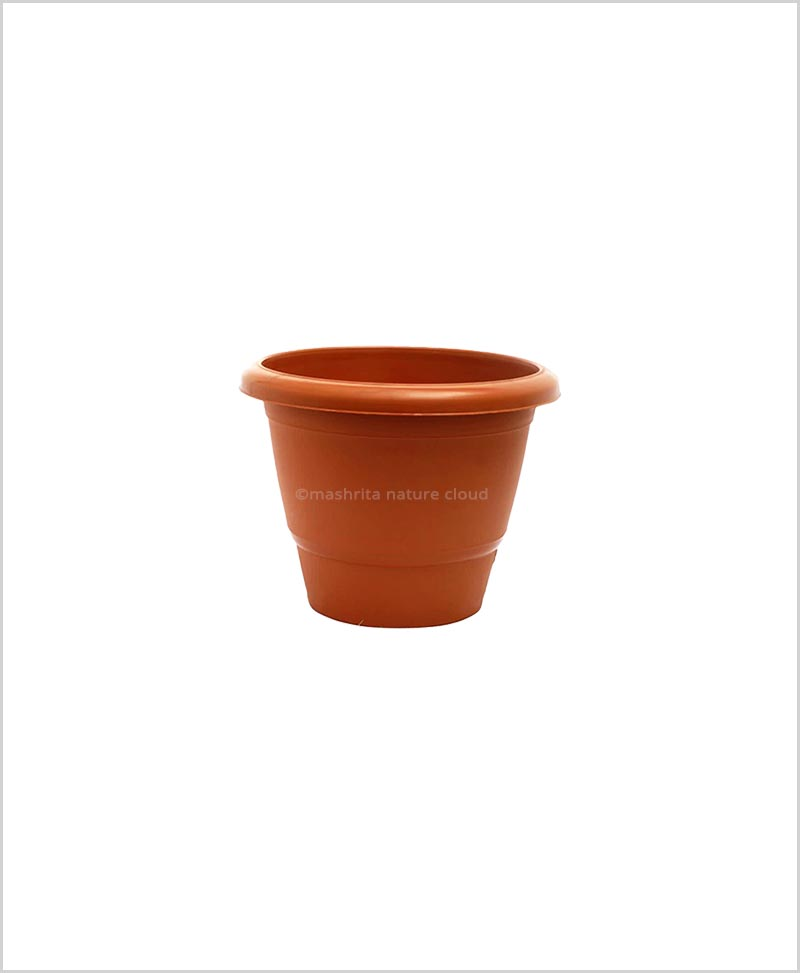 Semi Round Plastic Pot 8 inch Garden Pot (Terracotta Color)
