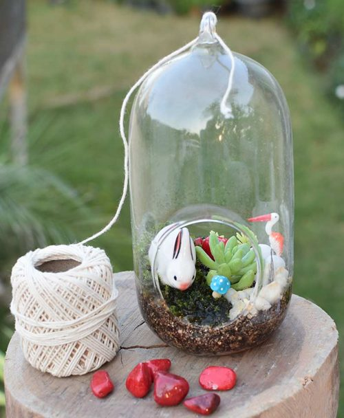 Hanging Small Capsule Type Terrarium with Deco Mates