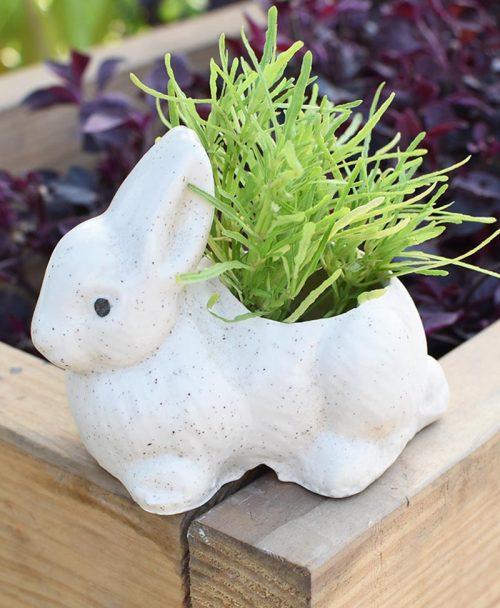 Ceramic Kids Rabbit Planter White 4 inch