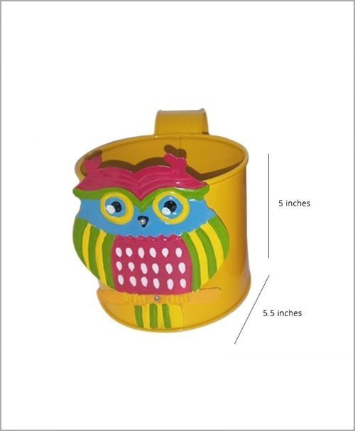 Buy Metal Owl Planter Yellow