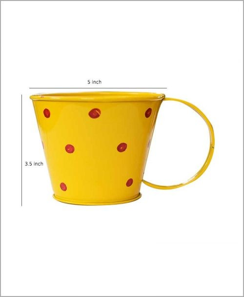 Buy Metal Cup Polka Planter Yellow